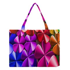 Colorful Flower Floral Rainbow Medium Tote Bag by Mariart
