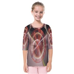 Fractal Fabric Ball Isolated On Black Background Kids  Quarter Sleeve Raglan Tee