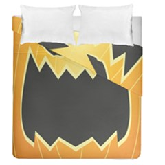 Halloween Pumpkin Orange Mask Face Sinister Eye Black Duvet Cover Double Side (queen Size) by Mariart