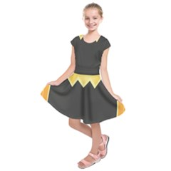 Halloween Pumpkin Orange Mask Face Sinister Eye Black Kids  Short Sleeve Dress