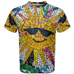 Sun From Mosaic Background Men s Cotton Tee by Nexatart