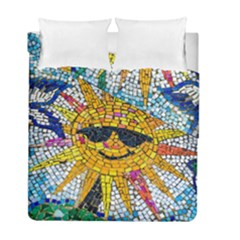 Sun From Mosaic Background Duvet Cover Double Side (full/ Double Size)