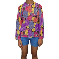 Colorful Floral Pattern Background Kids  Long Sleeve Swimwear by Nexatart