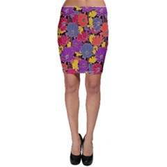 Colorful Floral Pattern Background Bodycon Skirt