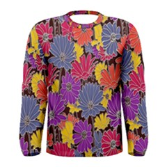 Colorful Floral Pattern Background Men s Long Sleeve Tee