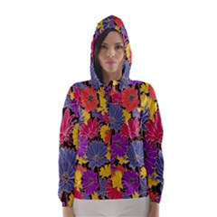 Colorful Floral Pattern Background Hooded Wind Breaker (women)