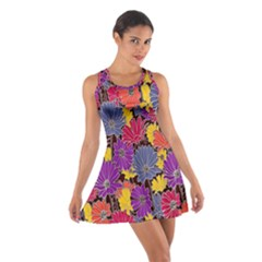 Colorful Floral Pattern Background Cotton Racerback Dress