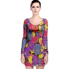 Colorful Floral Pattern Background Long Sleeve Velvet Bodycon Dress by Nexatart
