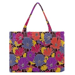 Colorful Floral Pattern Background Medium Zipper Tote Bag by Nexatart
