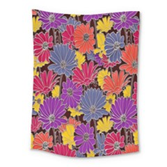 Colorful Floral Pattern Background Medium Tapestry by Nexatart