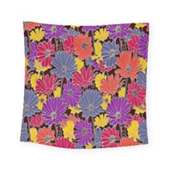 Colorful Floral Pattern Background Square Tapestry (small) by Nexatart