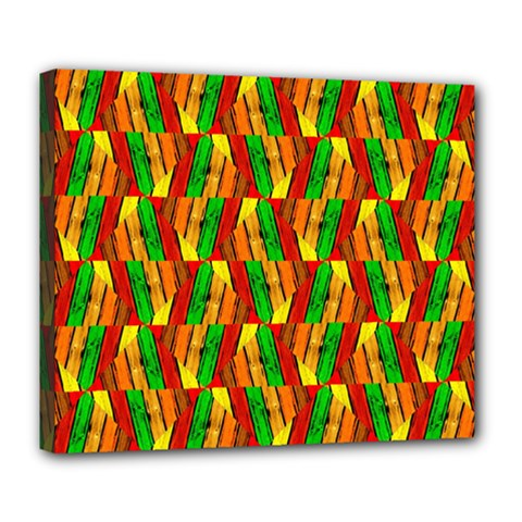 Colorful Wooden Background Pattern Deluxe Canvas 24  X 20   by Nexatart