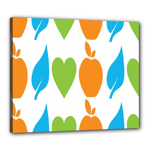 Fruit Apple Orange Green Blue Canvas 24  X 20  by Mariart