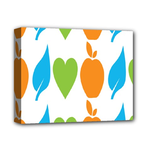 Fruit Apple Orange Green Blue Deluxe Canvas 14  X 11  by Mariart