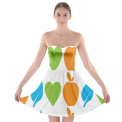 Fruit Apple Orange Green Blue Strapless Bra Top Dress by Mariart