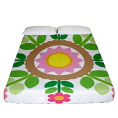 Flower Floral Sunflower Sakura Star Leaf Fitted Sheet (california King Size) by Mariart