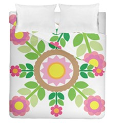 Flower Floral Sunflower Sakura Star Leaf Duvet Cover Double Side (queen Size) by Mariart