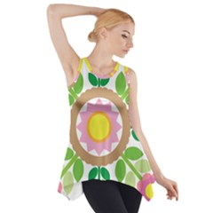 Flower Floral Sunflower Sakura Star Leaf Side Drop Tank Tunic by Mariart