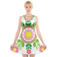 Flower Floral Sunflower Sakura Star Leaf V Neck Sleeveless Skater Dress by Mariart