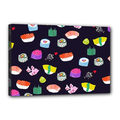 Japanese Food Sushi Fish Canvas 18  X 12  by Mariart