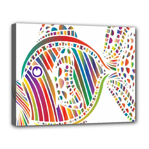 Colorful Fish Animals Rainbow Canvas 14  X 11  by Mariart