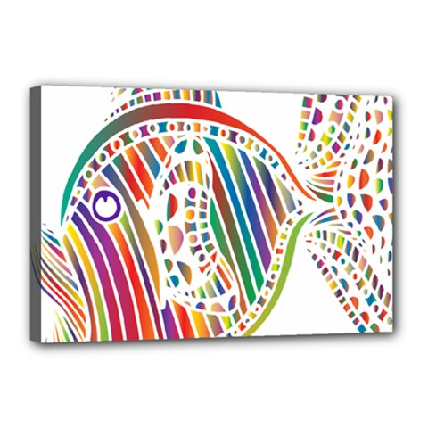 Colorful Fish Animals Rainbow Canvas 18  X 12  by Mariart