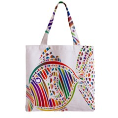 Colorful Fish Animals Rainbow Zipper Grocery Tote Bag by Mariart