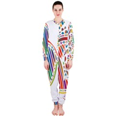 Colorful Fish Animals Rainbow Onepiece Jumpsuit (ladies)
