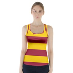 Oswald s Stripes Red Yellow Racer Back Sports Top