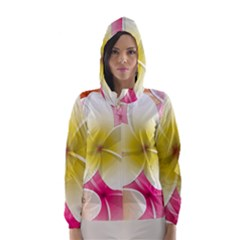 Frangipani Flower Floral White Pink Yellow Hooded Wind Breaker (women)