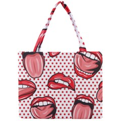 Lipstick Lip Red Polka Dot Circle Mini Tote Bag by Mariart