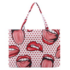 Lipstick Lip Red Polka Dot Circle Medium Zipper Tote Bag by Mariart