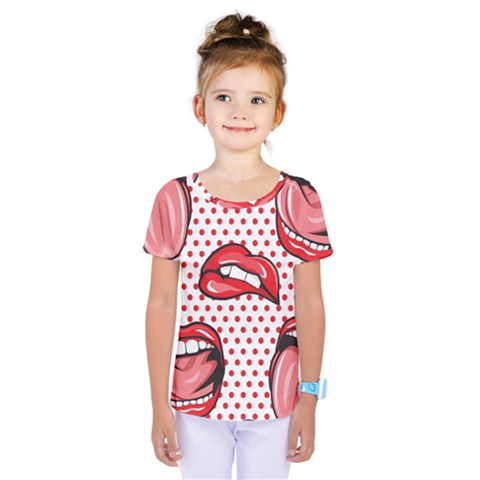 Lipstick Lip Red Polka Dot Circle Kids  One Piece Tee by Mariart