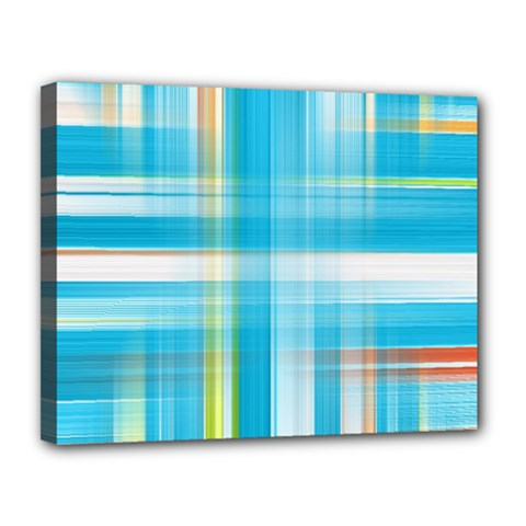 Lines Blue Stripes Canvas 14  X 11  by Mariart