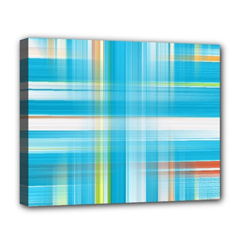 Lines Blue Stripes Deluxe Canvas 20  X 16   by Mariart