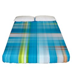 Lines Blue Stripes Fitted Sheet (queen Size) by Mariart