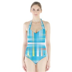 Lines Blue Stripes Halter Swimsuit by Mariart