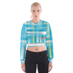 Lines Blue Stripes Cropped Sweatshirt by Mariart