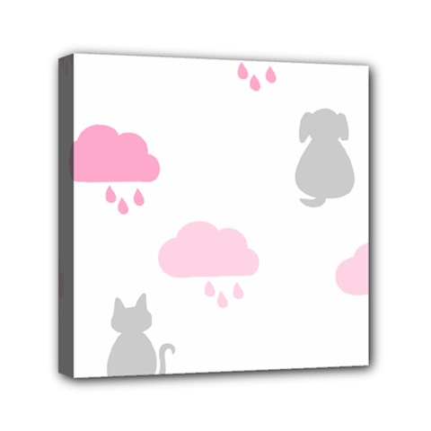 Raining Cats Dogs White Pink Cloud Rain Mini Canvas 6  X 6  by Mariart