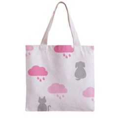 Raining Cats Dogs White Pink Cloud Rain Zipper Grocery Tote Bag by Mariart