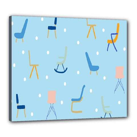 Seat Blue Polka Dot Canvas 24  X 20  by Mariart