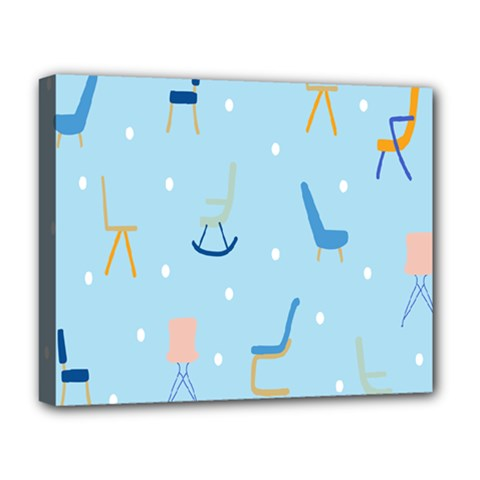 Seat Blue Polka Dot Deluxe Canvas 20  X 16   by Mariart