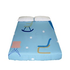 Seat Blue Polka Dot Fitted Sheet (full/ Double Size) by Mariart