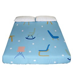 Seat Blue Polka Dot Fitted Sheet (california King Size) by Mariart