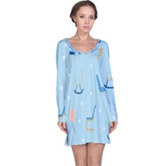 Seat Blue Polka Dot Long Sleeve Nightdress by Mariart