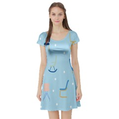 Seat Blue Polka Dot Short Sleeve Skater Dress by Mariart