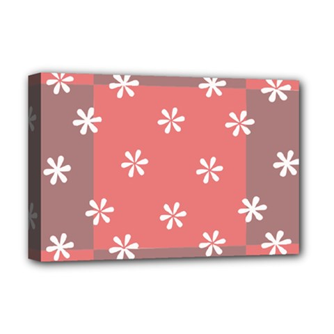 Seed Life Seamless Remix Flower Floral Red White Deluxe Canvas 18  X 12   by Mariart