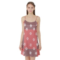 Seed Life Seamless Remix Flower Floral Red White Satin Night Slip by Mariart
