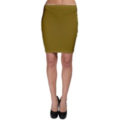 Stripy Starburst Effect Light Orange Green Line Bodycon Skirt