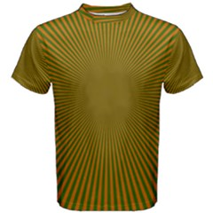 Stripy Starburst Effect Light Orange Green Line Men s Cotton Tee by Mariart